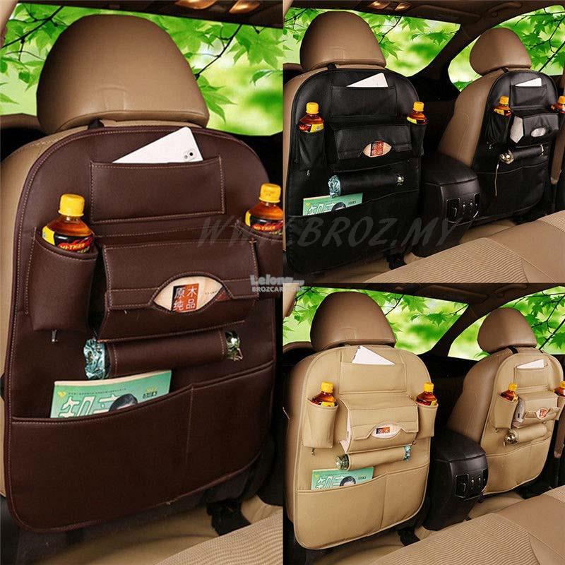 Car Seat Back Organiser Leather Waterproof Multi Use Storage Bag BLACK