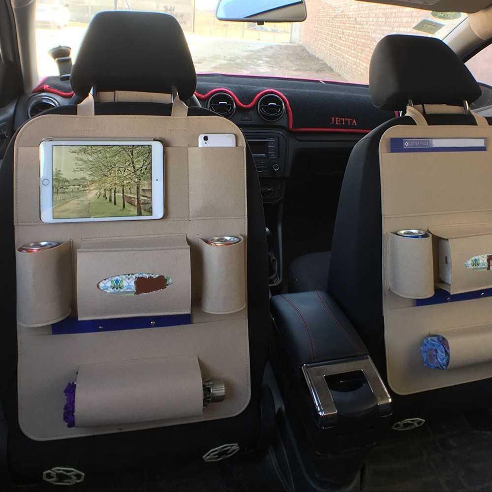 Car Back Seat Organizer Multi-Pocket Bag Fabric Storage Bins (beige)