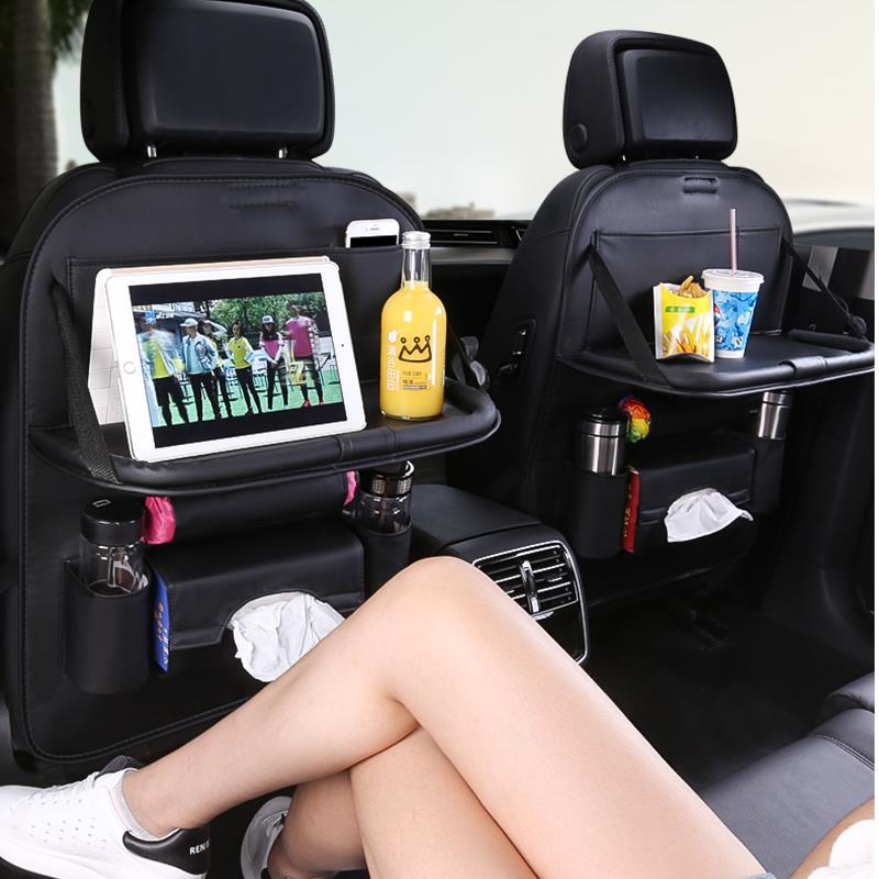 Car Storage Supplies Multi Function Back Seat Leather Folding Table