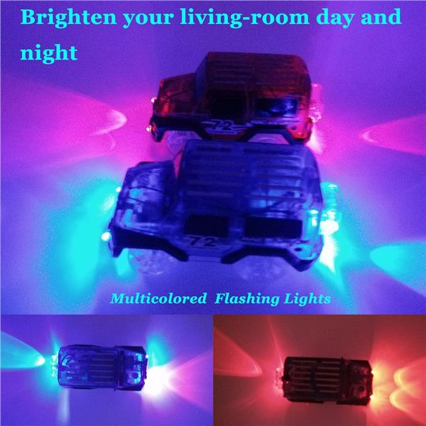 Car Track,MIGE Track Car Light Up Toy Car Glow In The Dark Track Car
