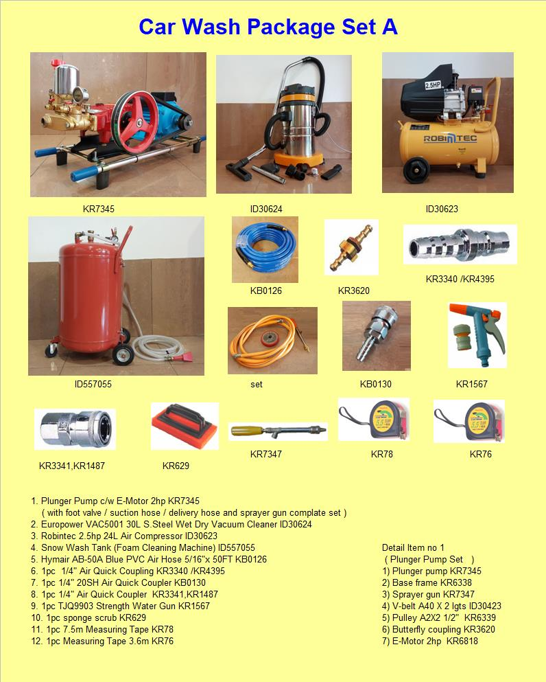 Car Wash Package A  ( All items as per photo )