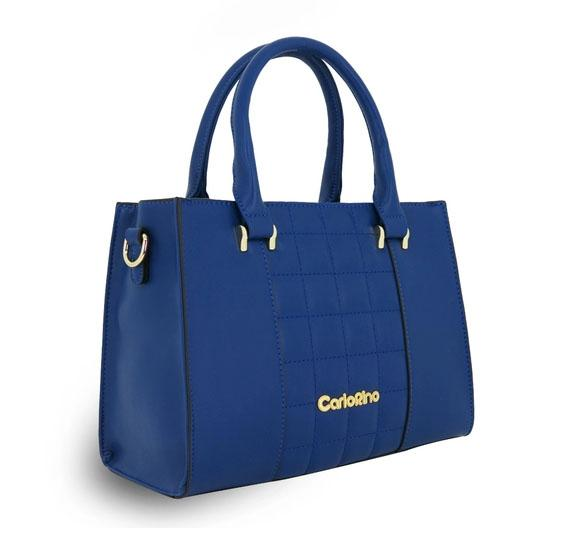 Carlo Rino Leather Top Handle Bags Blue