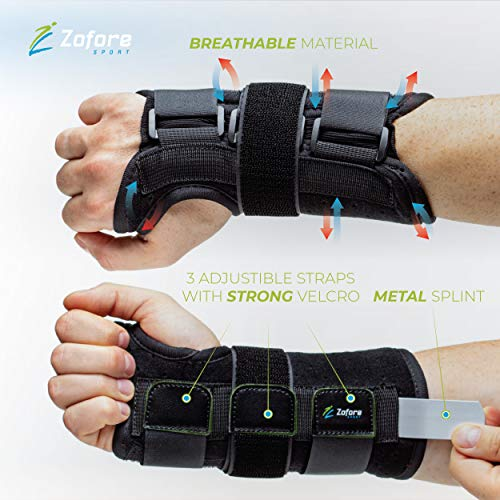 Carpal Tunnel Wrist Brace Support with Metal Splint Stabilizer - Helps Relieve