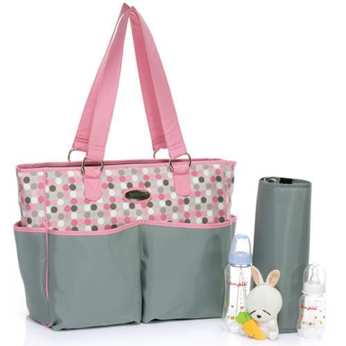 Carters Baby Diaper Bag In Pink Grey Polka Dots