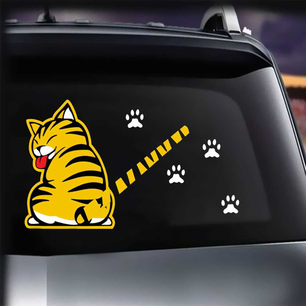 Cartoon Cat Moving Tail Paws Sticker Window Reflective Sheeting 3D Car