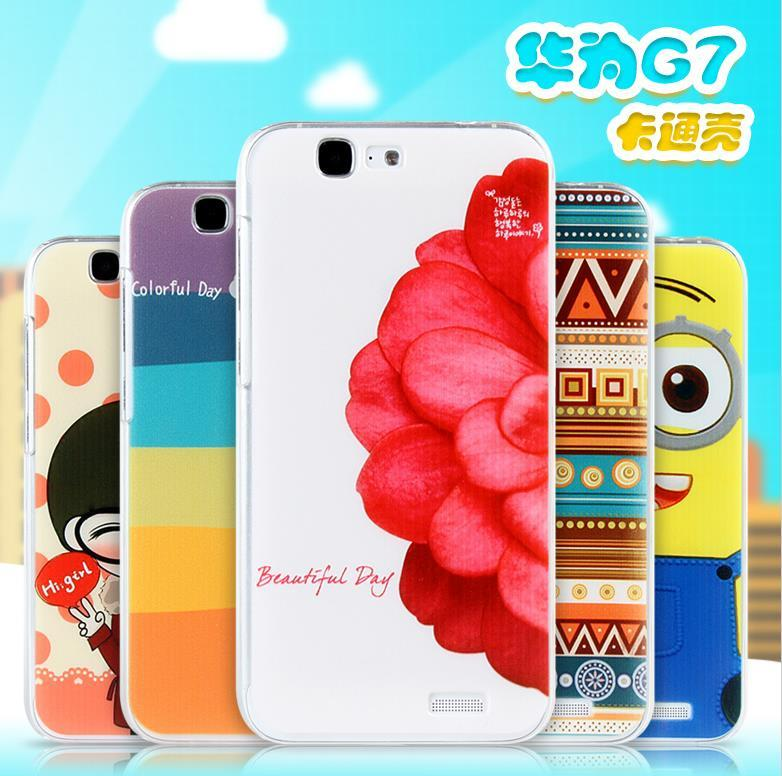 Cartoon Design Huawei Ascend G7 Hard Back Case Cover + Free Gift