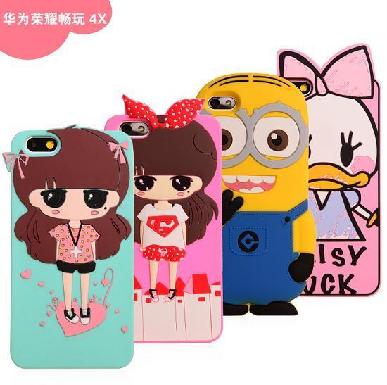 Cartoon Design Huawei Honor 4X ShakeProof Silicone Case Cover Casing
