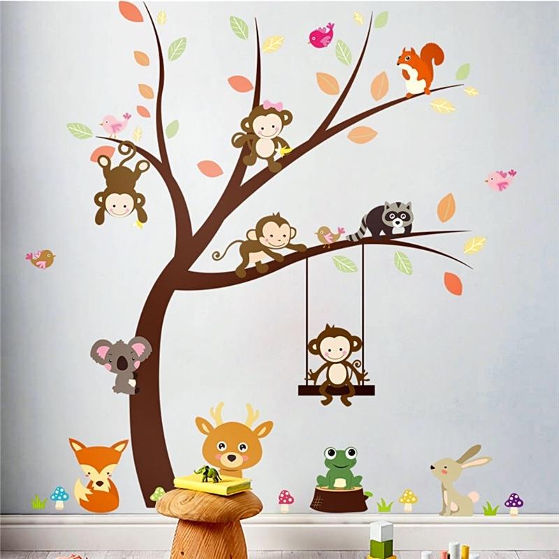 . cartoon forest monkey bird fox tree wall stickers for kids rooms decor