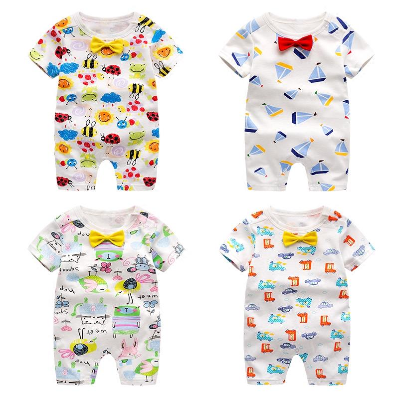 Cartoon Short Sleeved Short Pant Cotton Infant Baby Jumpsuit+Free Gift