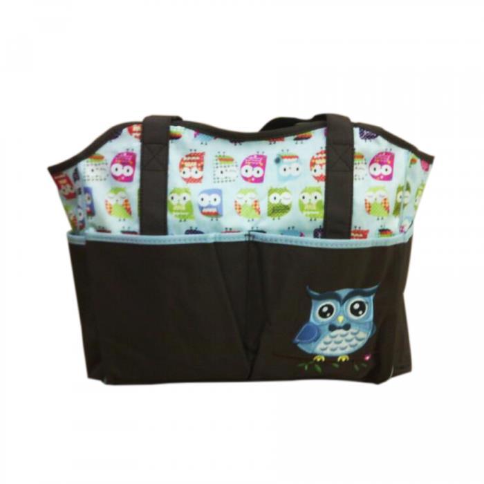 Cartoon World Character Mommy Diaper Bag Design D Cute Owl Blue