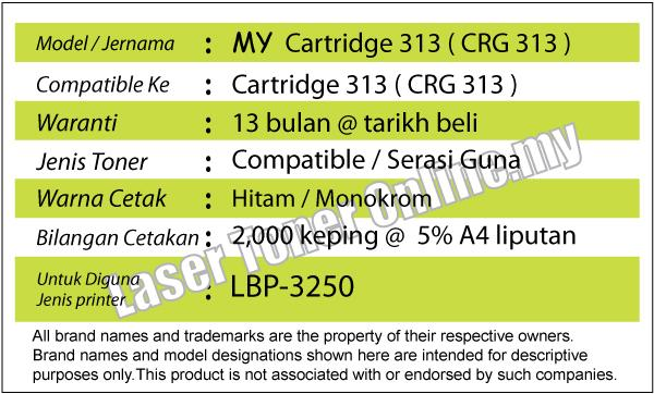 MY Cartridge 313/CRG313 Compatible Canon LBP-3250/LBP3250 Laser Toner