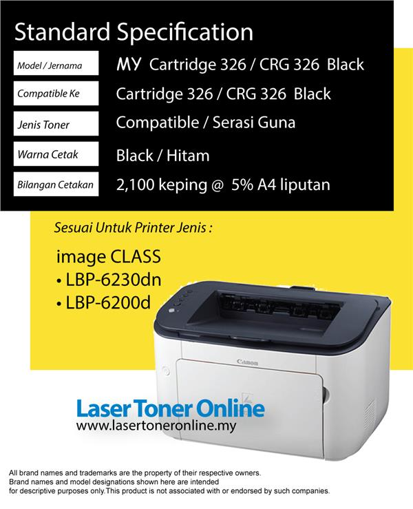 Cartridge 326 CRG/CART326 Compatible Canon LBP 6200 6200d 6230dn Toner