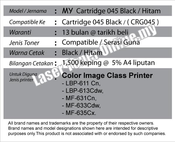 Cartridge CRG 045 45 Compatible CANON imageCLASS MF 635Cx 633Cdw 631Cn