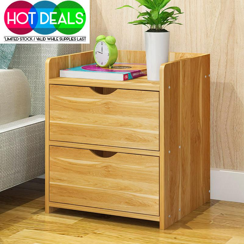 Casanova Moder Chest Of 2 Drawer Storage Bed Side Table Cabinet