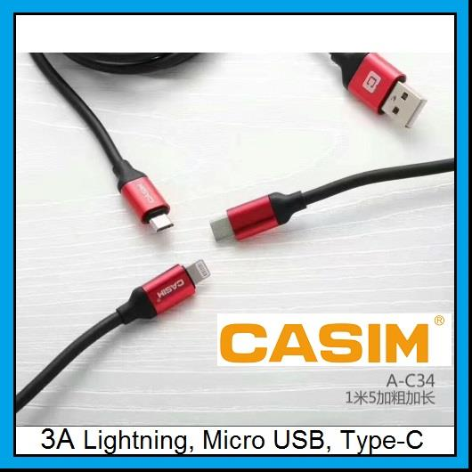 CASIM 3A Fast Charge 1.5m Data Cable Lightning Micro Type-C A-C34