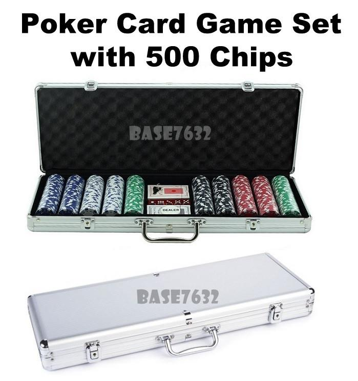 Casino  Poker Game Card Deck Set w/ 500 Chips Aluminium Briefcase Case