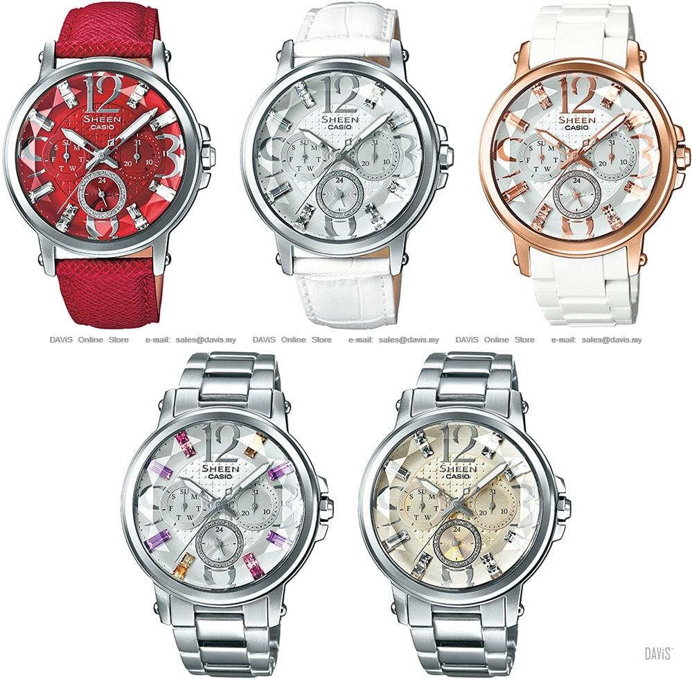 new styles 871f4 681db CASIO SHE-3035 SHE-3035D SHE-3035L SHEEN multi-hand day-date swarovski