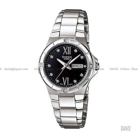 CASIO SHE-4022D-1A SHEEN swarovski crystals day-date SS bracelet black