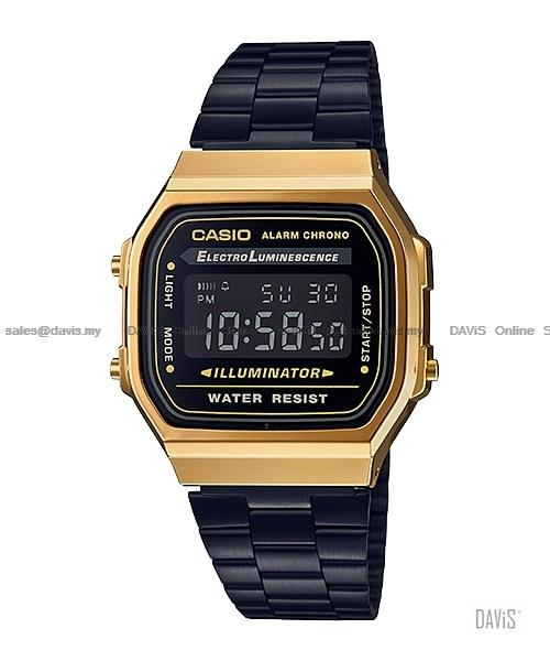CASIO A168WEGB-1B STANDARD digital vintage retro bracelet black gold