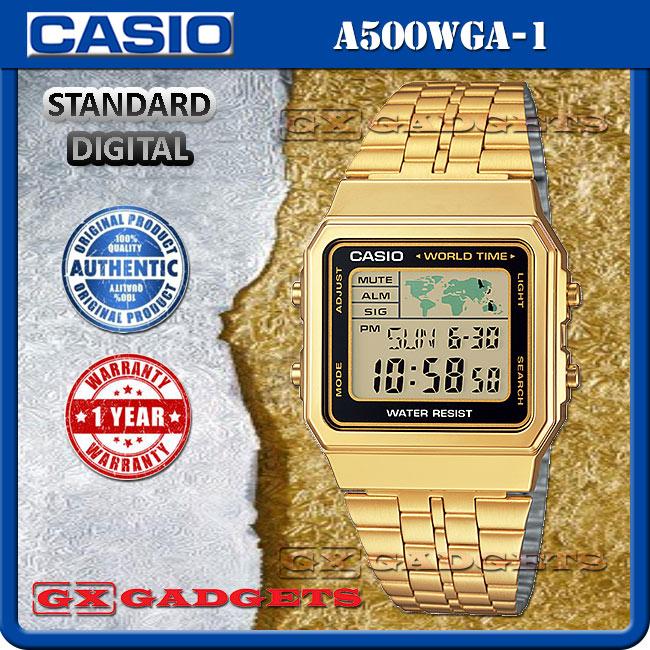 Casio a500wga 1 standard digital wat end 3102019 921 am casio a500wga 1 standard digital watch world map multi time led l gold gumiabroncs Choice Image