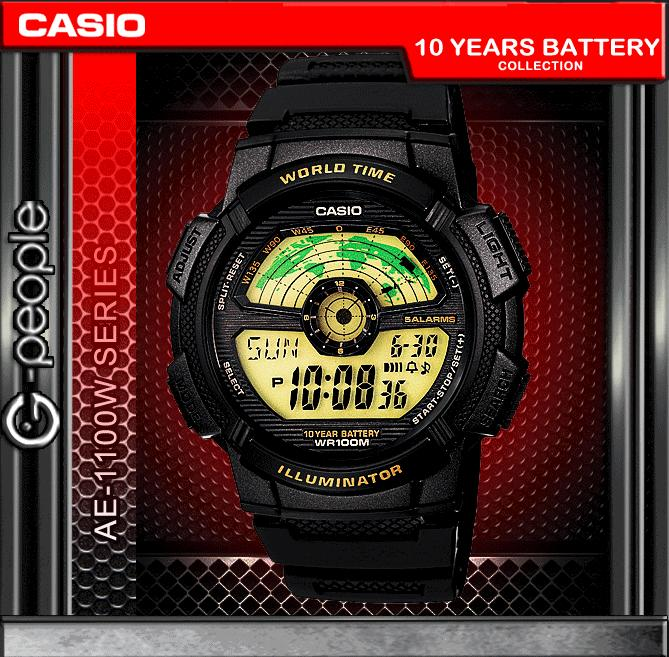 CASIO AE-1100W-1BV WORLD TIME WATCH☑ORIGINAL☑