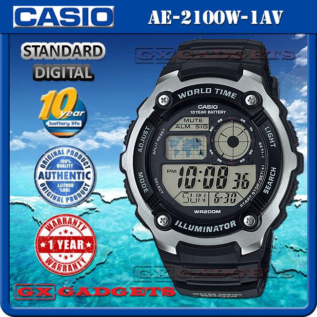 Casio ae 2100w 1av standard digital end 1292019 123 am casio ae 2100w 1av standard digital watch 10year world map time wr200m gumiabroncs Images