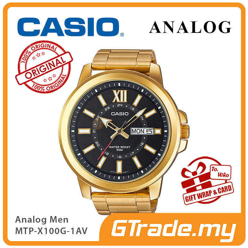 CASIO ANALOG MTP-X100G-1AV Mens Watch | Gold Ion Plate Large Case