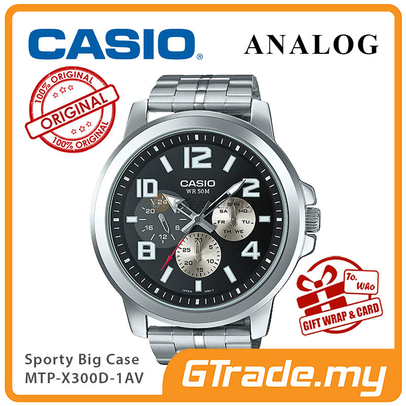 CASIO ANALOG MTP-X300D-1AV Mens Watch | Big Case Multi-Hands