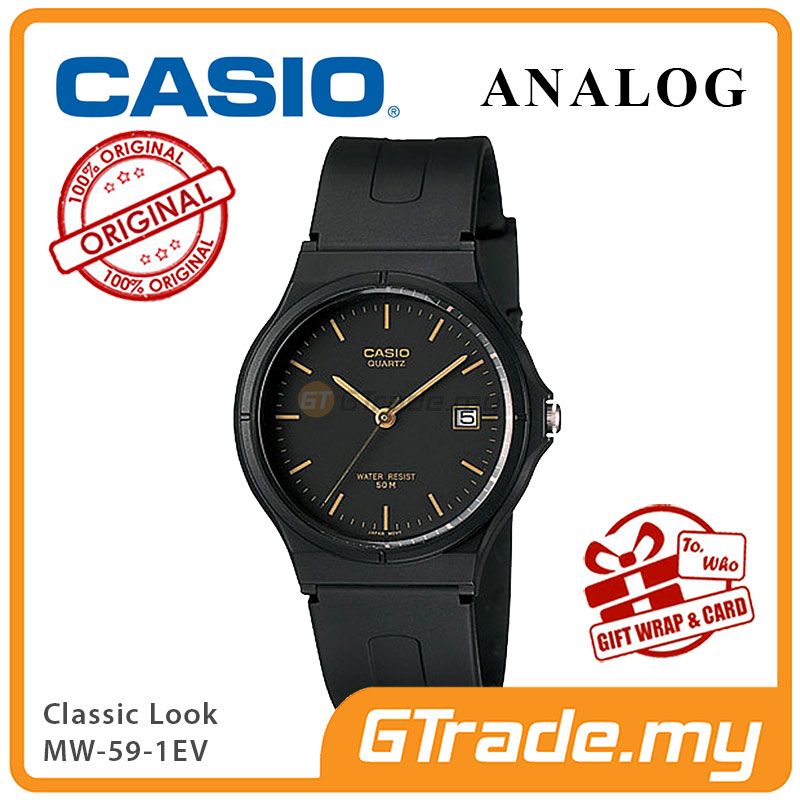 CASIO ANALOG MW-59-1EV Mens Watch | Date Display 50m Resist