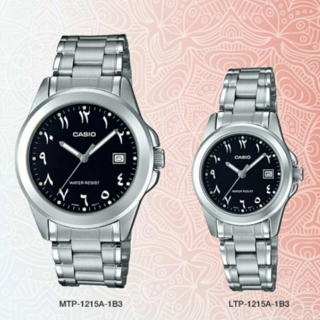 CASIO ARABIC ORIGINAL MTP-1215A-1B3 &LTP-1215A-1B3 COUPLE WATCH