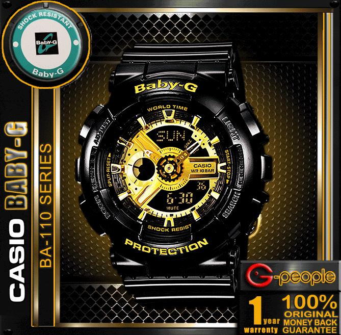 CASIO BABY-G BA-110-1A GOLD BLACK WATCH ☑ORIGINAL☑