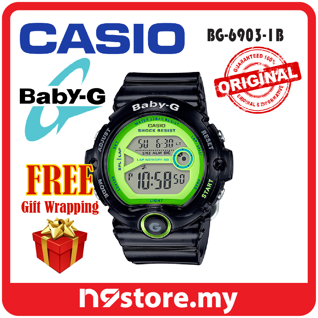 Casio Baby G Bg 6903 1b Digital Ladies Black Green Sports Watch