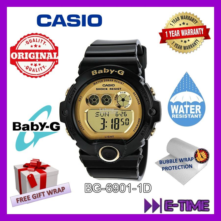 Casio Baby G Original Bg 6901 1 Black Gold Digital Women Ladies Watch