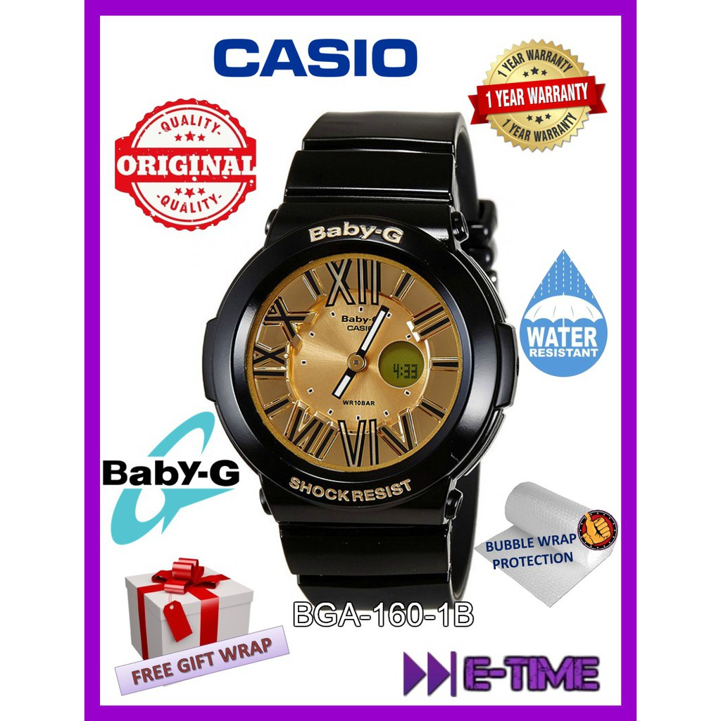 Casio Baby G Original Bga 160 1b Black Gold Analog Digital Neon Watch
