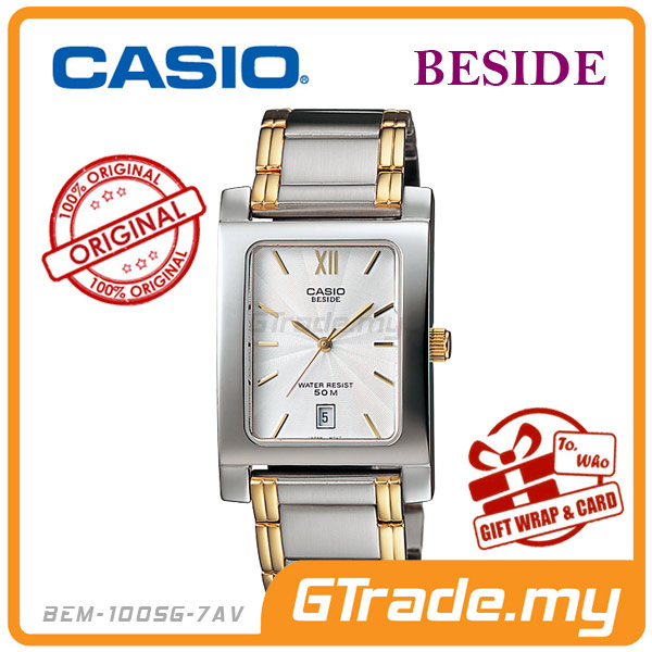 CASIO BESIDE BEM-100SG-7AV Analog Mens Watch | Square