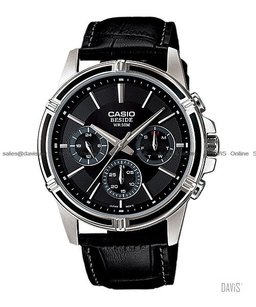 CASIO BEM-311L-1A1V BESIDE multi-hand leather strap black