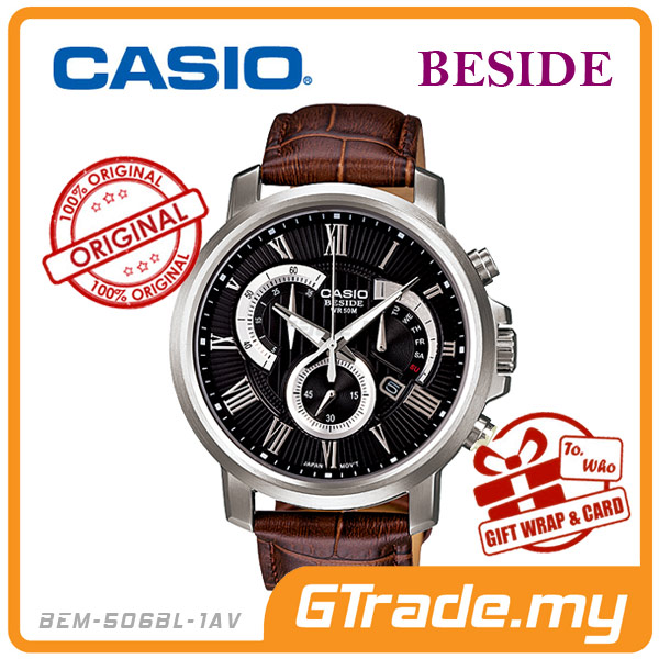 CASIO BESIDE BEM-506BL-1AV Chronograph Watch | Retro Day Date Disp.