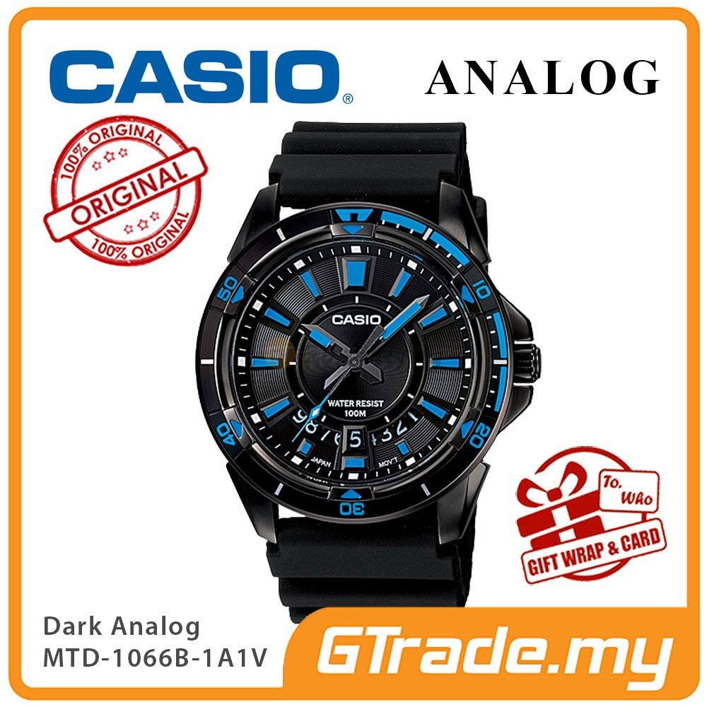CASIO BLACK MTD-1066B-1A1V Analog Mens Watch | Dark Steel Case