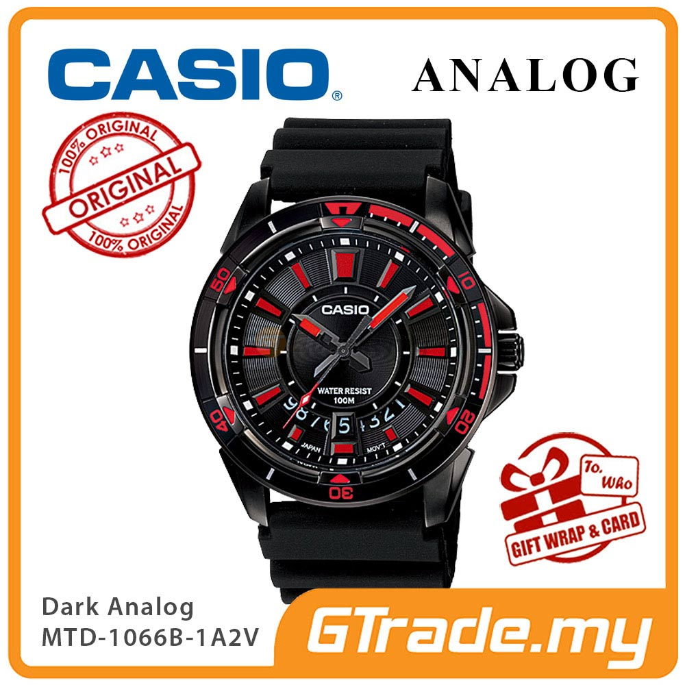 CASIO BLACK MTD-1066B-1A2V Analog Mens Watch | Dark Steel Case
