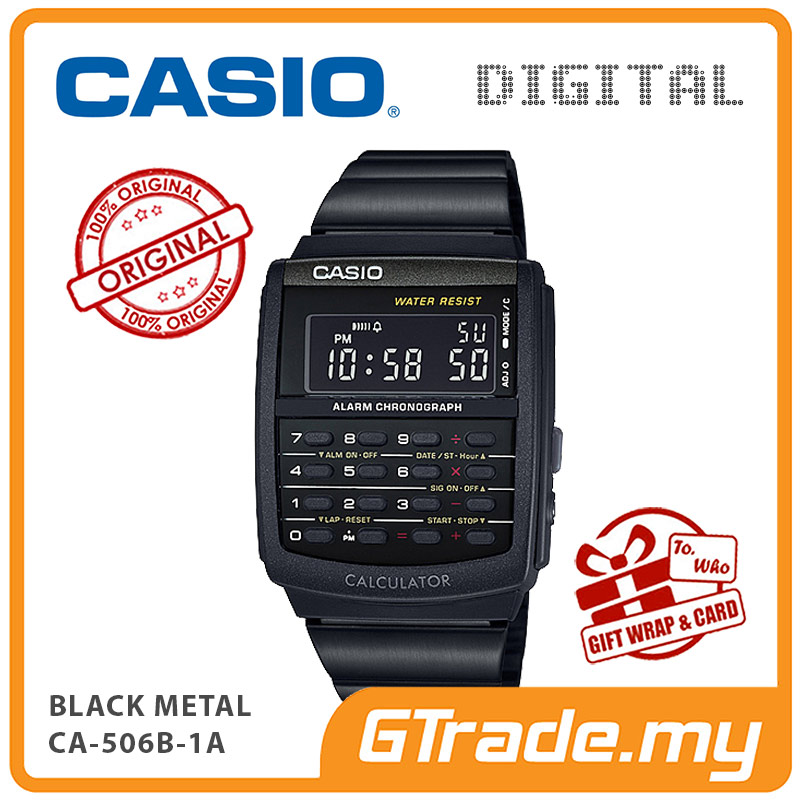 CASIO Calculator Watch CA-506B-1A Digital Black Steel Strap Dual Time