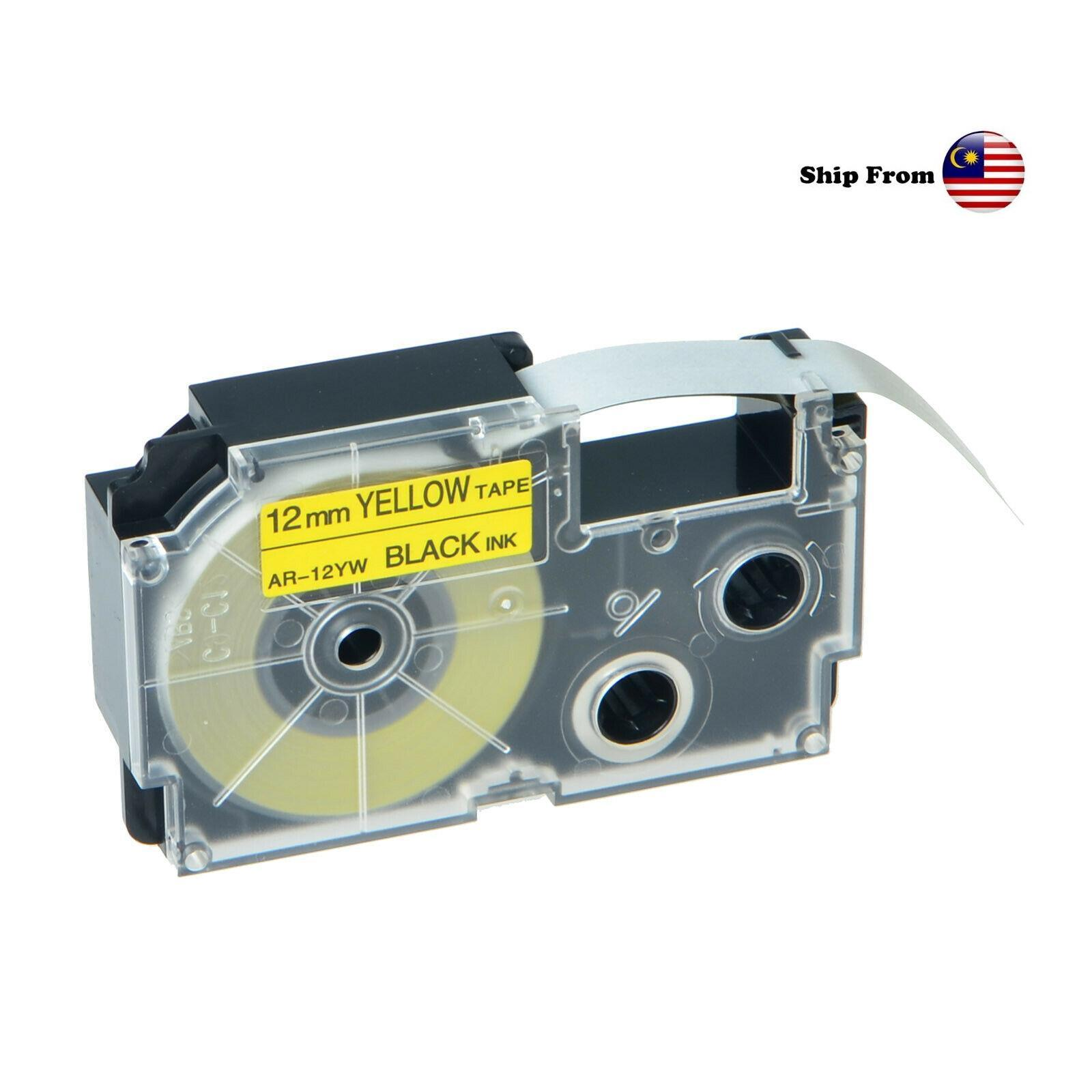 Casio Compatible Printer Label Tape Cartridge Yellow 12mm ~ XR-12YW