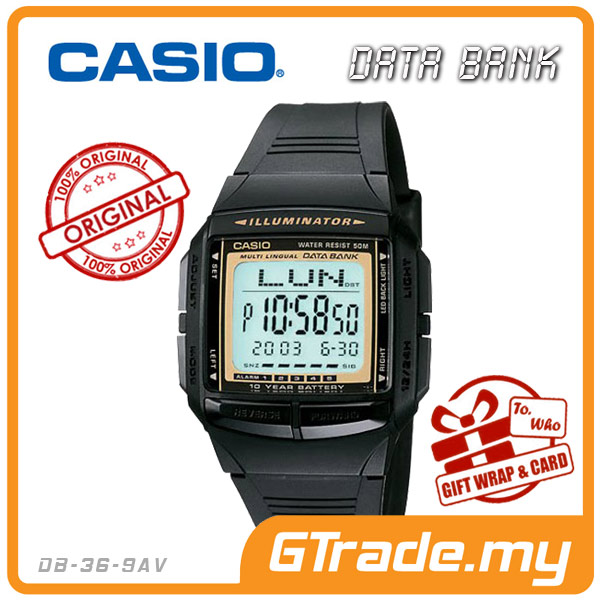 CASIO DATA BANK DB-36-9AV Digital Watch | 30 Telememo 10 Yrs Batt.