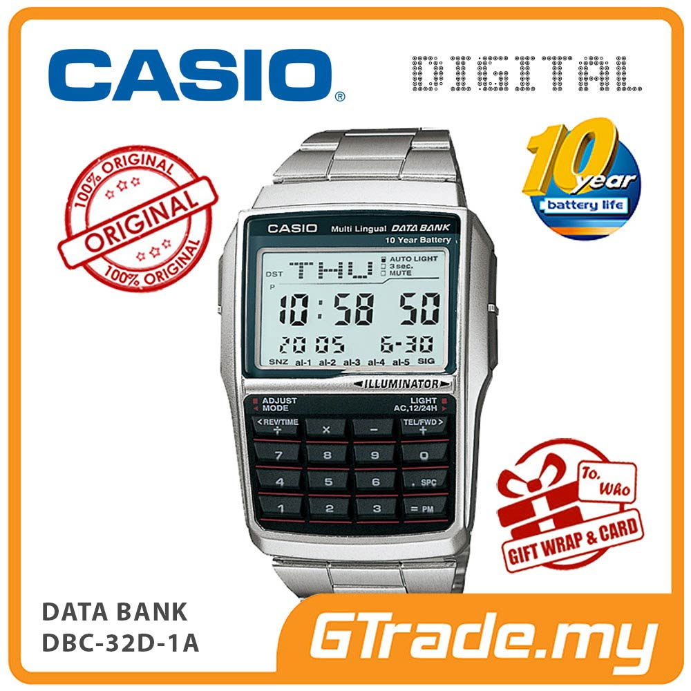 CASIO DATA BANK DBC-32D-1A Digital Watch | Calculator 10 Years Batt.