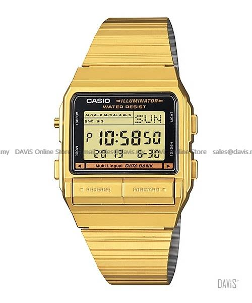 CASIO DB-380G-1 DATA BANK 30 record telememo retro SS bracelet gold