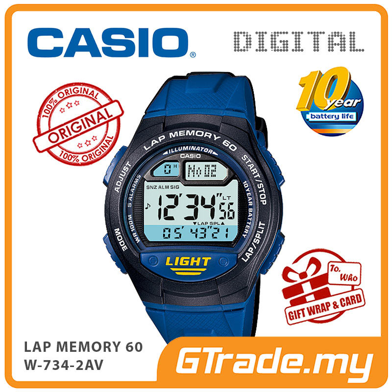 CASIO DIGITAL W-734-2AV Watch | Lap Memory 60 10 Years Battery Life