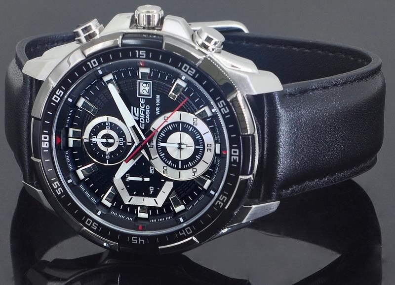 fccda8f63cf2 Casio EDIFICE Men Chronograph Leather Strap Watch EFR-539L-1AVUDF. ‹ ›