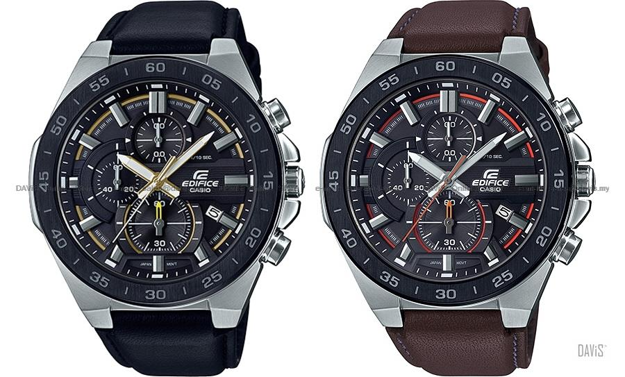 CASIO EFR-564BL EDIFICE chronograph flat bezel date leather strap