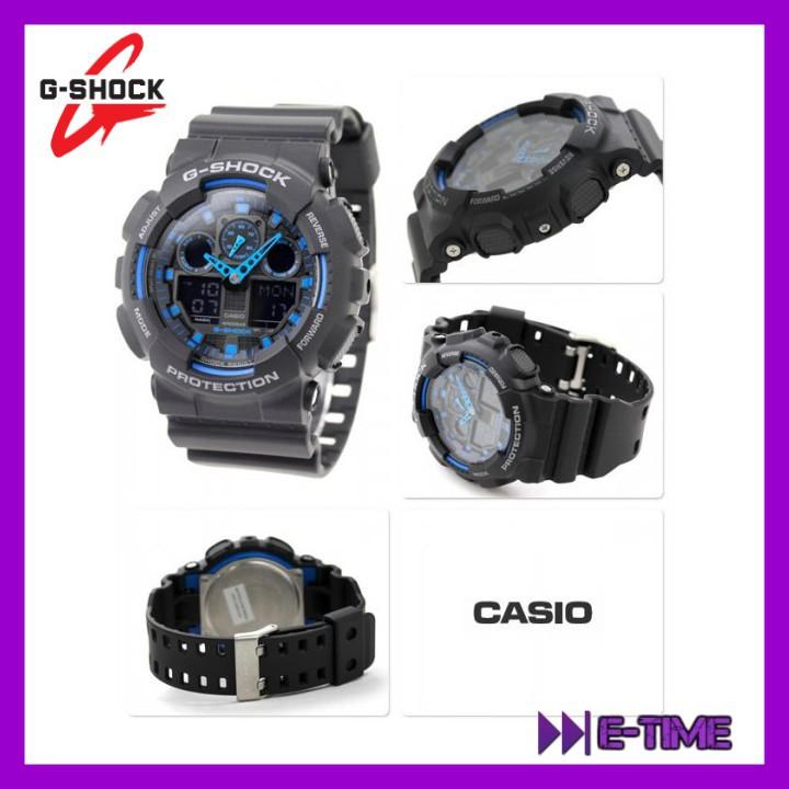 7691476de9e4 CASIO G-SHOCK ORIGINAL GA-100-1A2 BLACK BLUE DIGITAL ANALOG MEN WATCH