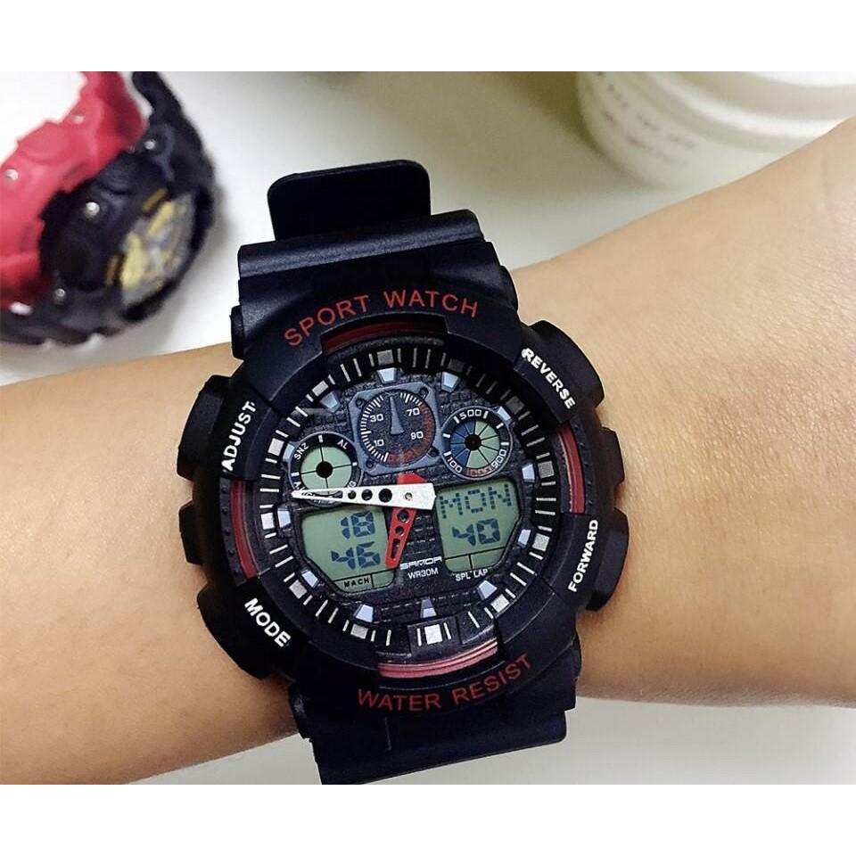 37fcdba7e4a1 CASIO G-SHOCK ORIGINAL GA-100-1A4 BLACK RED DIGITAL ANALOG MEN WATCH