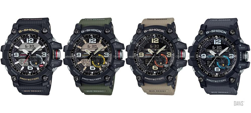best service 08a4e 585ae CASIO GG-1000 G-SHOCK MUDMASTER compass thermo resin strap *Variants